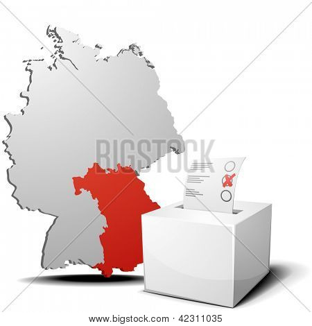 detailed illustration of ballot box in front of a 3D outline of Germany with a red marked province Bavaria, eps 10