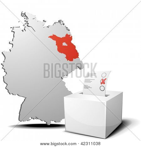 detailed illustration of ballot box in front of a 3D outline of Germany with a red marked province Brandenburg, eps 10