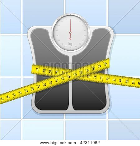 detailed illustration of an analog bathroom scale wrapped in measure tape, eps 10