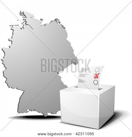 detailed illustration of ballot box in front of a 3D outline of Germany, eps 10