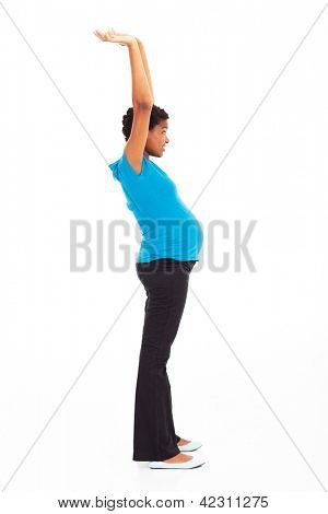 active pregnant african american woman arms up