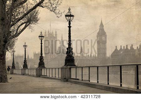 Vista vintage de Londres, el Big Ben & casas del Parlamento