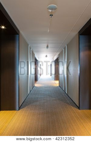 long corridor of hotel room
