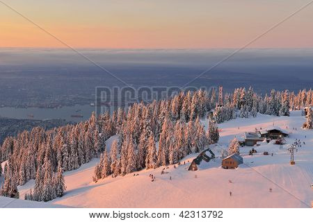 Grouse Mountain Ski Resort At Sunrise