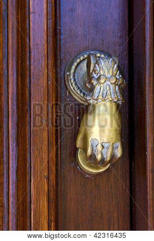 Knocker In A Closed  Door In Uruguay