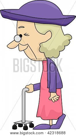 Illustration of an Old Lady with Walking Stick