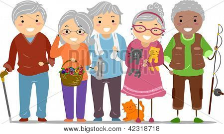 Illustration of Stickman Senior Citizens