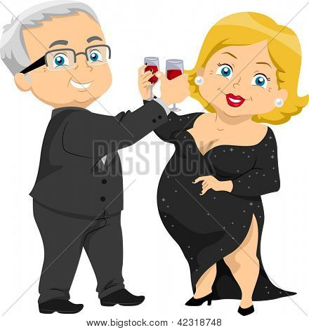 Illustration of Senior Couple Having a Toast at a Party
