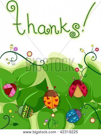 Beispiel für eine Dankeskarte mit Marienkäfer und Blätter im Hintergrund