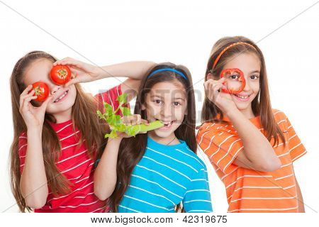 healthy eating kids concept, children with vegetables