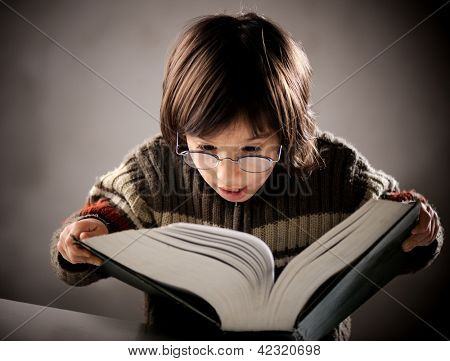 Fine portrait of cute little boy reading book