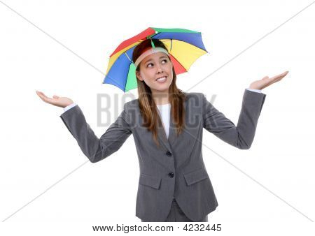 Business Woman Under Umbrella