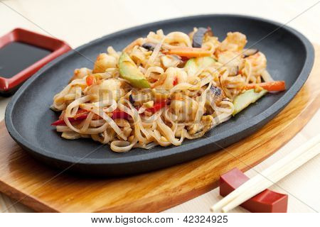 noodles with seafood. japanese cuisine
