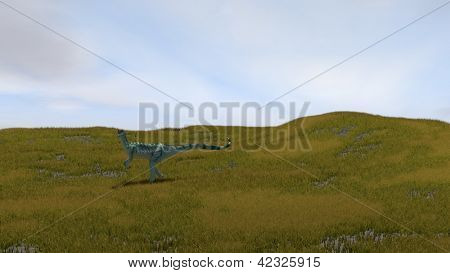 dilophosaurus in grassfield