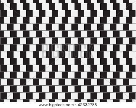 Optical illusion - parallel lines made from black and white pillows | EPS10 Vector Illustration