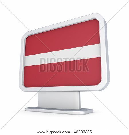 Latvian flag in a lightbox.