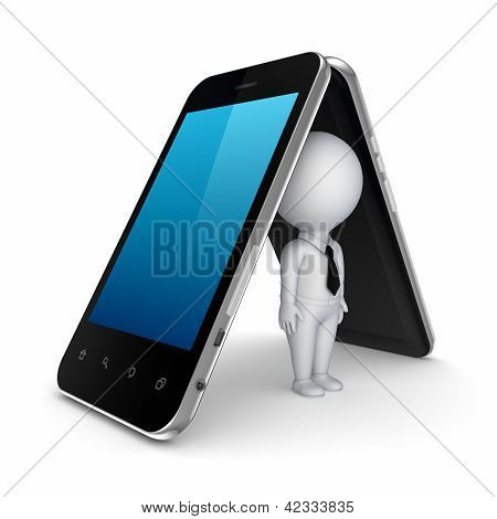 3d small person under mobile phones.