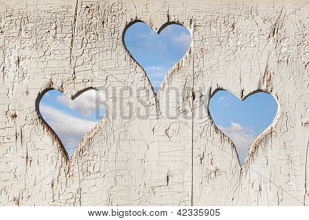 Heart Shape Look Out On Wooden Door To Outhouse.
