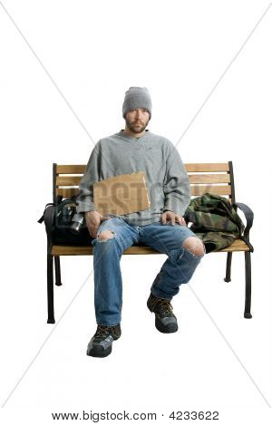 Homeless Bum On A Bench