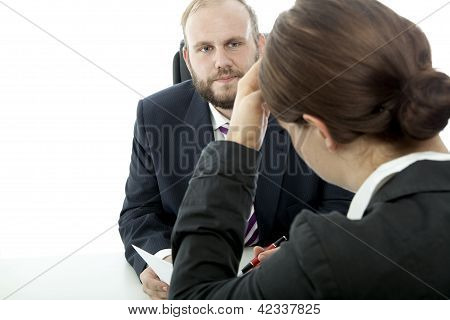Beard Business Man Brunette Woman At Desk Unwell  Contract