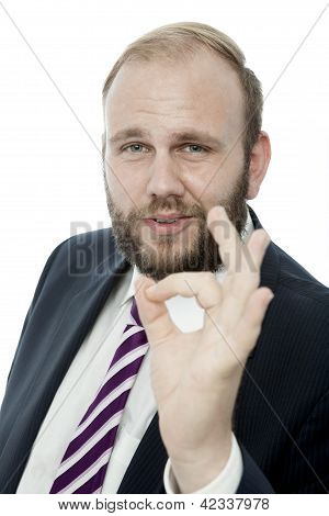 Beard Business Man Say It Is Perfect With Finger