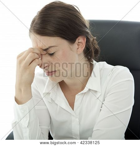 Young Brunette Business Woman Headache Touch Her Head With Finger