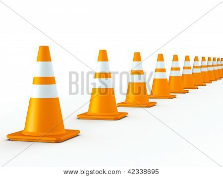 Isolated Line Of Traffic Cones