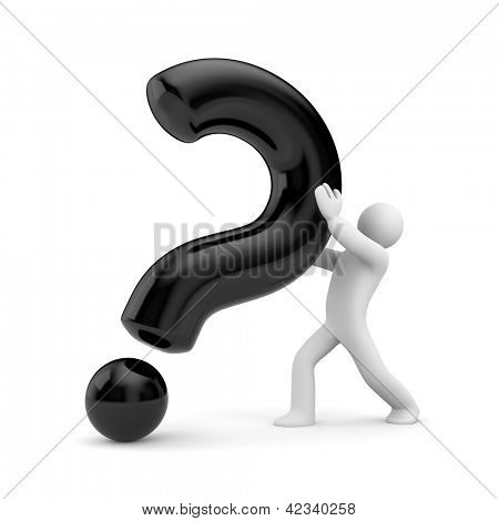 3d person with black question mark