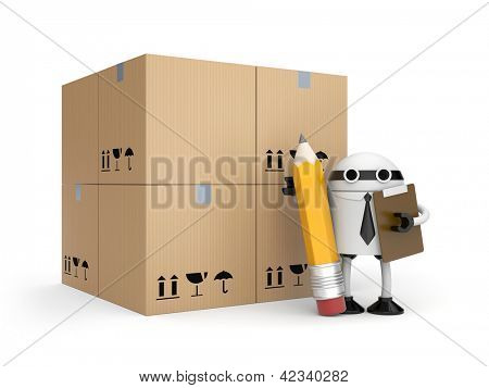 Robot with clipboard and boxes
