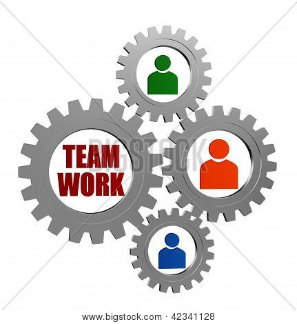 Teamwork And Person Signs In Silver Grey Gearwheels