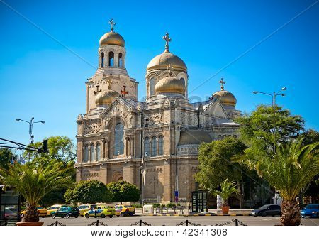 The Cathedral of the Assumption in Varna, Bulgaria. Completed in 1886, and also known as the Dormition of the Theotokos Cathedral.