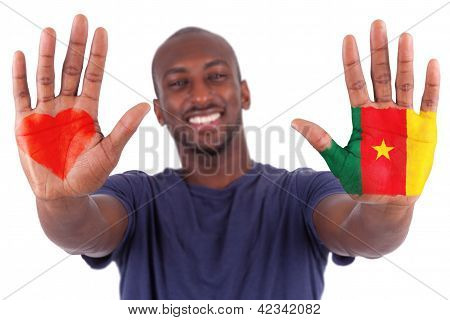 African Man Hands With A Painted Heart And Cameroon Flag, I Love Cameroon Concept
