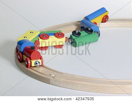 Accident Of A Wooden Toy Train