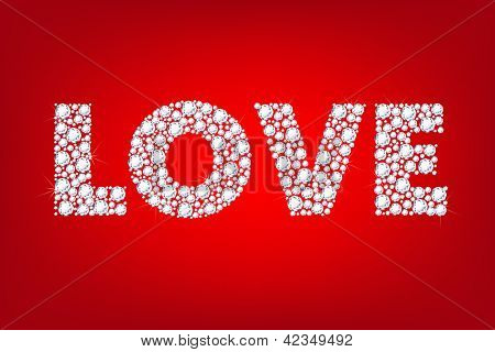 Word Love, Isolated On Red Background, Vector Illustration