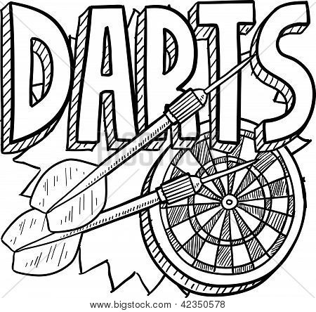 Darts sport sketch
