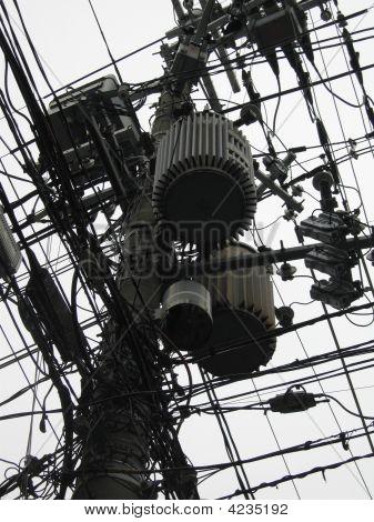 Electric Transformer Power Pole
