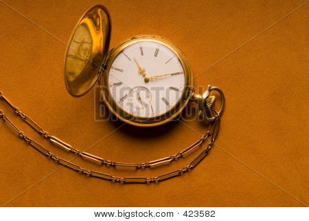 Antique Gold Pocket Watch And Chain