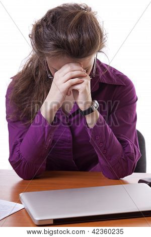 Stressed Businesswoman At Work Isolated On White