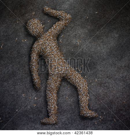 outline of a dead body made of cigarette butts