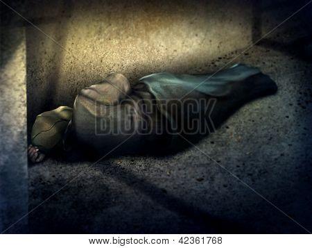 Homeless Man Sleeping - Digital Painting