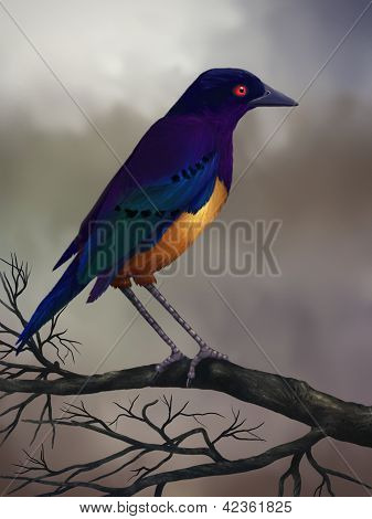 Starling On A Branch - Digital Painting