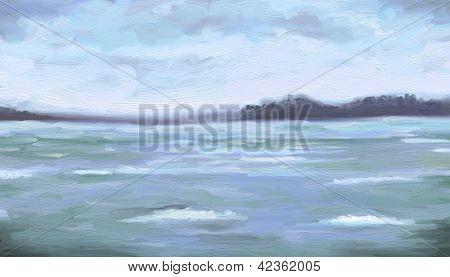 Seafoam Waves - Digital Painting