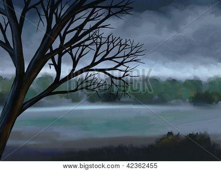Moody Gray Sky - Digital Painting