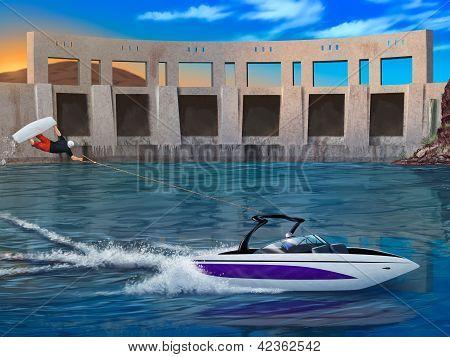 Extreme Wakeboarder and speedboat - digital artwork