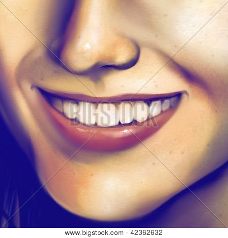 close up of a laughing girl's face - digital art