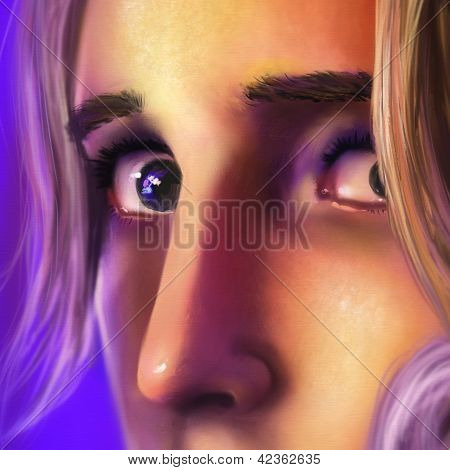 close up of a sad woman's face - digital art