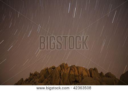 Jumbo Rocks star path at Joshua Tree National Park in California's Mojave desert.