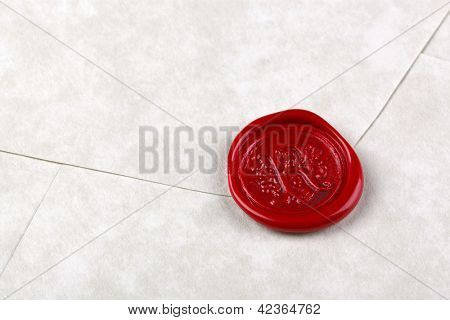 Envelope made from parchment paper sealed with a red wax seal