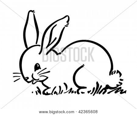 Cute Bunny Rabbit - Retro Clipart Illustration