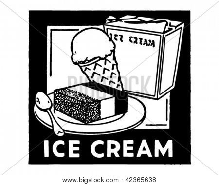 Ice Cream Banner - Retro Clipart Illustration